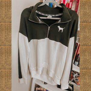 PINK Olive Half-Zip Sweatshirt